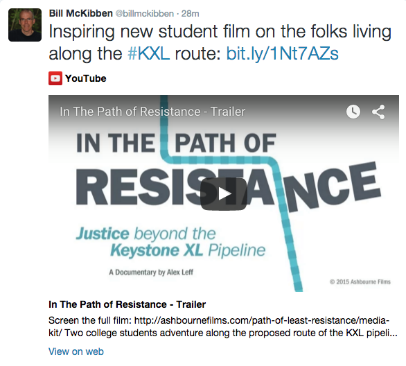 Bill McKibben Tweet - In The Path